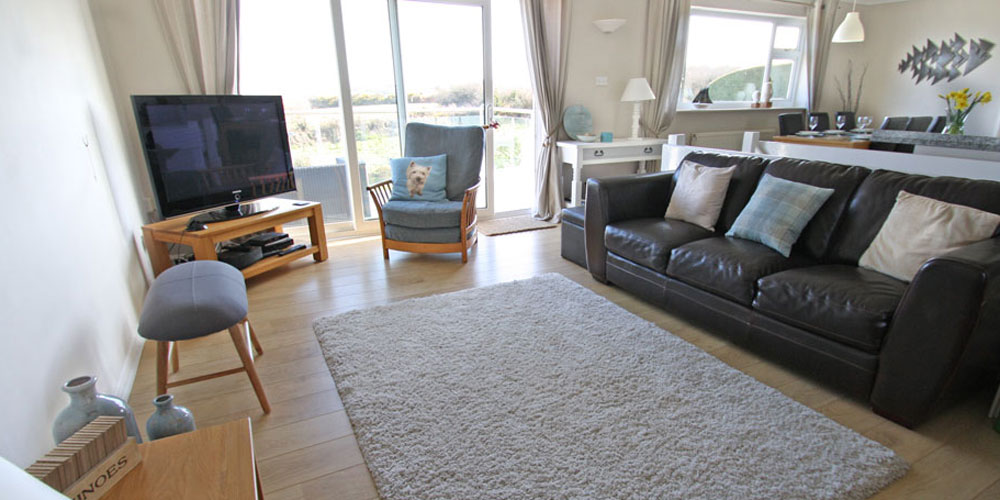 Luxury holiday home interior in Abersoch with sea view